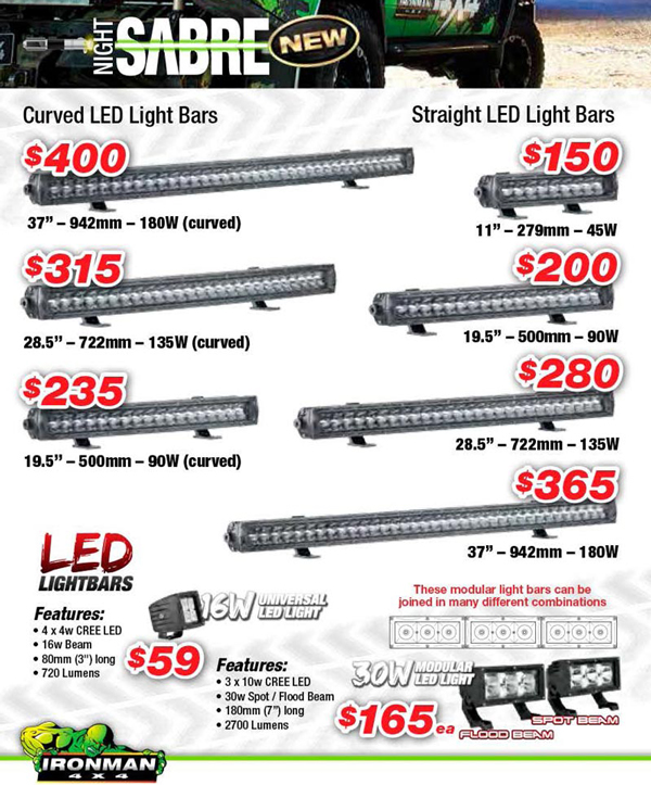 Ironman 4x4 accessories for your 4wd led light bars high night sabre led light bars from ironman 4x4 mozeypictures Choice Image